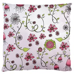 Pink whimsical flowers on pink Large Cushion Case (Two Sided)