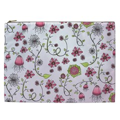 Pink Whimsical Flowers On Pink Cosmetic Bag (xxl)