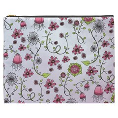 Pink whimsical flowers on pink Cosmetic Bag (XXXL)