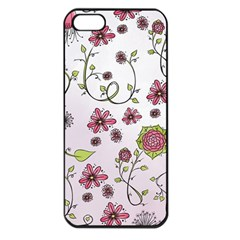 Pink Whimsical Flowers On Pink Apple Iphone 5 Seamless Case (black)