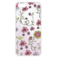 Pink Whimsical Flowers On Pink Apple Iphone 5 Seamless Case (white)