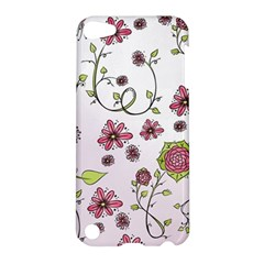 Pink Whimsical Flowers On Pink Apple Ipod Touch 5 Hardshell Case
