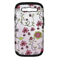 Pink Whimsical Flowers On Pink Samsung Galaxy S Iii Hardshell Case (pc+silicone)