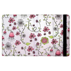 Pink whimsical flowers on pink Apple iPad 2 Flip Case