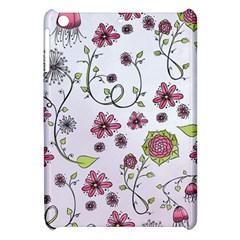 Pink Whimsical Flowers On Pink Apple Ipad Mini Hardshell Case