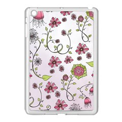 Pink whimsical flowers on pink Apple iPad Mini Case (White)