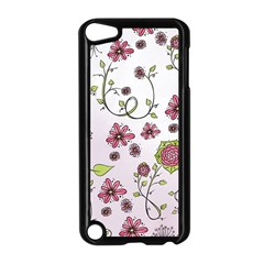 Pink Whimsical Flowers On Pink Apple Ipod Touch 5 Case (black)