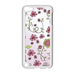 Pink whimsical flowers on pink Apple iPod Touch 5 Case (White)