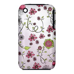 Pink whimsical flowers on pink Apple iPhone 3G/3GS Hardshell Case (PC+Silicone)