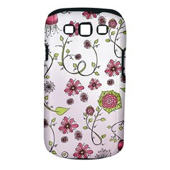 Pink Whimsical Flowers On Pink Samsung Galaxy S Iii Classic Hardshell Case (pc+silicone)