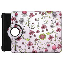 Pink whimsical flowers on pink Kindle Fire HD 7  (1st Gen) Flip 360 Case
