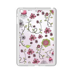 Pink Whimsical Flowers On Pink Apple Ipad Mini 2 Case (white)