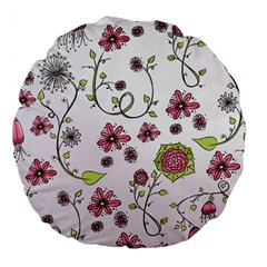 Pink whimsical flowers on pink 18  Premium Round Cushion