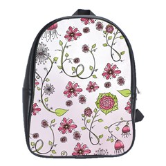 Pink Whimsical Flowers On Pink School Bag (xl)