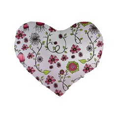 Pink whimsical flowers on pink 16  Premium Heart Shape Cushion