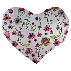Pink whimsical flowers on pink 19  Premium Heart Shape Cushion