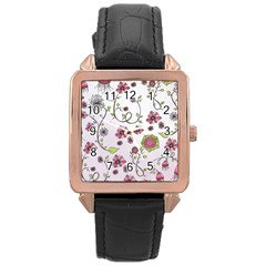 Pink Whimsical Flowers On Pink Rose Gold Leather Watch