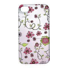 Pink whimsical flowers on pink Apple iPhone 4/4S Hardshell Case with Stand