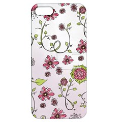 Pink whimsical flowers on pink Apple iPhone 5 Hardshell Case with Stand