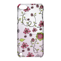 Pink Whimsical Flowers On Pink Apple Ipod Touch 5 Hardshell Case With Stand