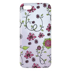 Pink whimsical flowers on pink Apple iPhone 5 Premium Hardshell Case
