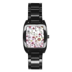 Pink whimsical flowers on pink Stainless Steel Barrel Watch