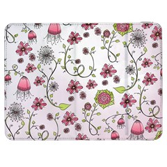 Pink Whimsical Flowers On Pink Samsung Galaxy Tab 7  P1000 Flip Case