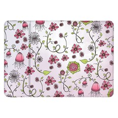 Pink Whimsical Flowers On Pink Samsung Galaxy Tab 8 9  P7300 Flip Case