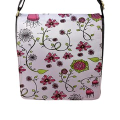 Pink Whimsical Flowers On Pink Flap Closure Messenger Bag (large)