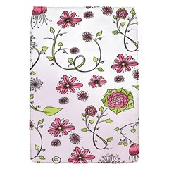 Pink whimsical flowers on pink Removable Flap Cover (Small)