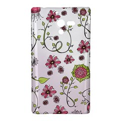 Pink whimsical flowers on pink Sony Xperia ZL (L35H) Hardshell Case