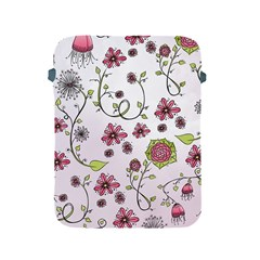 Pink whimsical flowers on pink Apple iPad Protective Sleeve