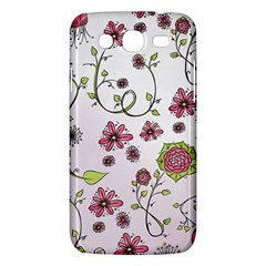 Pink Whimsical Flowers On Pink Samsung Galaxy Mega 5 8 I9152 Hardshell Case