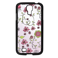 Pink whimsical flowers on pink Samsung Galaxy S4 I9500/ I9505 Case (Black)