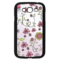 Pink whimsical flowers on pink Samsung Galaxy Grand DUOS I9082 Case (Black)