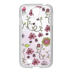 Pink whimsical flowers on pink Samsung GALAXY S4 I9500/ I9505 Case (White)