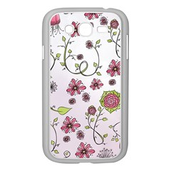 Pink Whimsical Flowers On Pink Samsung Galaxy Grand Duos I9082 Case (white)