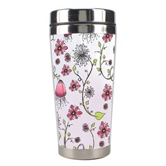 Pink Whimsical Flowers On Pink Stainless Steel Travel Tumbler