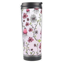 Pink whimsical flowers on pink Travel Tumbler