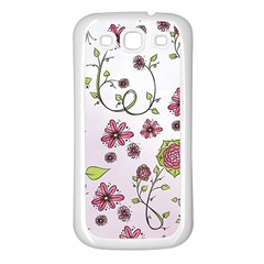 Pink whimsical flowers on pink Samsung Galaxy S3 Back Case (White)