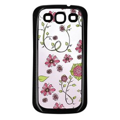 Pink whimsical flowers on pink Samsung Galaxy S3 Back Case (Black)