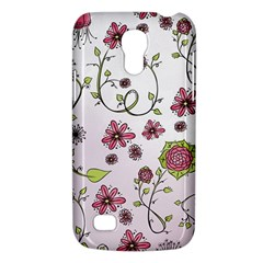 Pink whimsical flowers on pink Samsung Galaxy S4 Mini (GT-I9190) Hardshell Case
