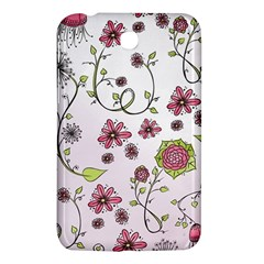 Pink Whimsical Flowers On Pink Samsung Galaxy Tab 3 (7 ) P3200 Hardshell Case