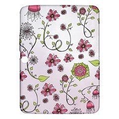 Pink whimsical flowers on pink Samsung Galaxy Tab 3 (10.1 ) P5200 Hardshell Case