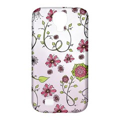 Pink Whimsical Flowers On Pink Samsung Galaxy S4 Classic Hardshell Case (pc+silicone)