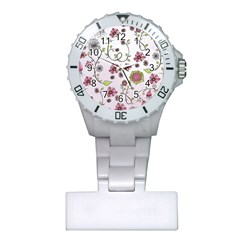 Pink whimsical flowers on pink Nurses Watch