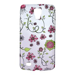 Pink whimsical flowers on pink Samsung Galaxy S4 Active (I9295) Hardshell Case