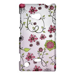 Pink whimsical flowers on pink Nokia Lumia 720 Hardshell Case
