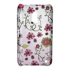 Pink Whimsical Flowers On Pink Nokia Lumia 620 Hardshell Case