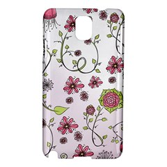 Pink whimsical flowers on pink Samsung Galaxy Note 3 N9005 Hardshell Case